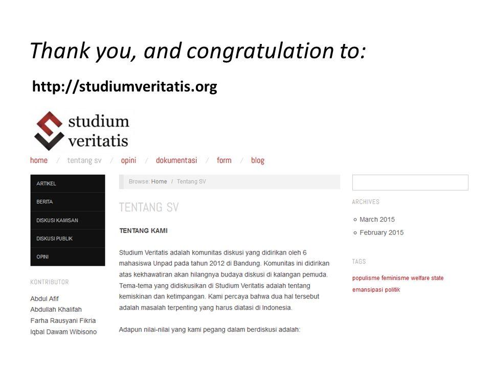 http://studiumveritatis.org Thank you, and congratulation to: