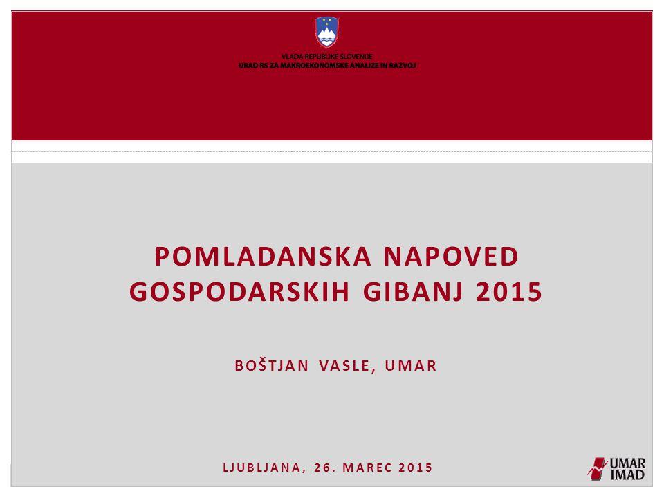 POMLADANSKA NAPOVED GOSPODARSKIH GIBANJ 2015 BOŠTJAN VASLE, UMAR LJUBLJANA, 26. MAREC 2015