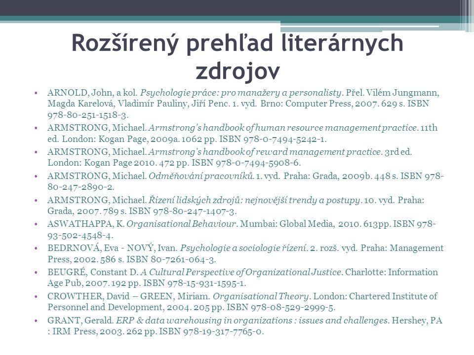 Rozšírený prehľad literárnych zdrojov ARNOLD, John, a kol.