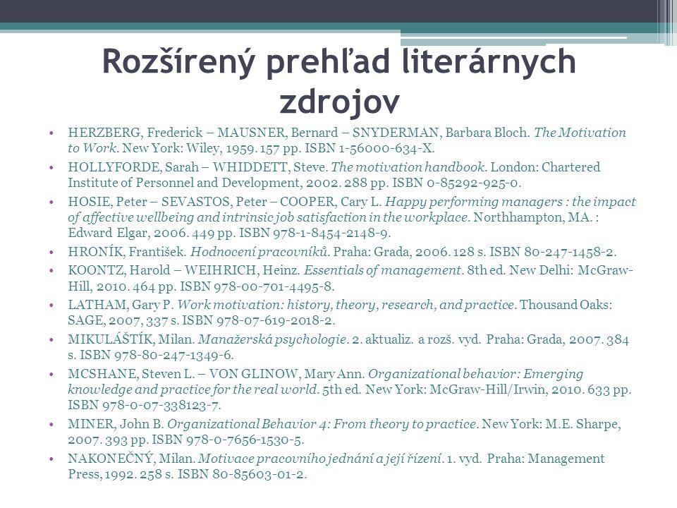 Rozšírený prehľad literárnych zdrojov HERZBERG, Frederick – MAUSNER, Bernard – SNYDERMAN, Barbara Bloch.