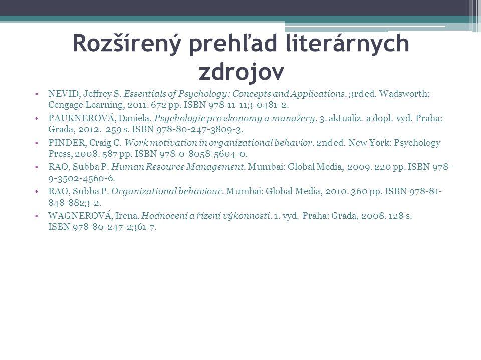 Rozšírený prehľad literárnych zdrojov NEVID, Jeffrey S.