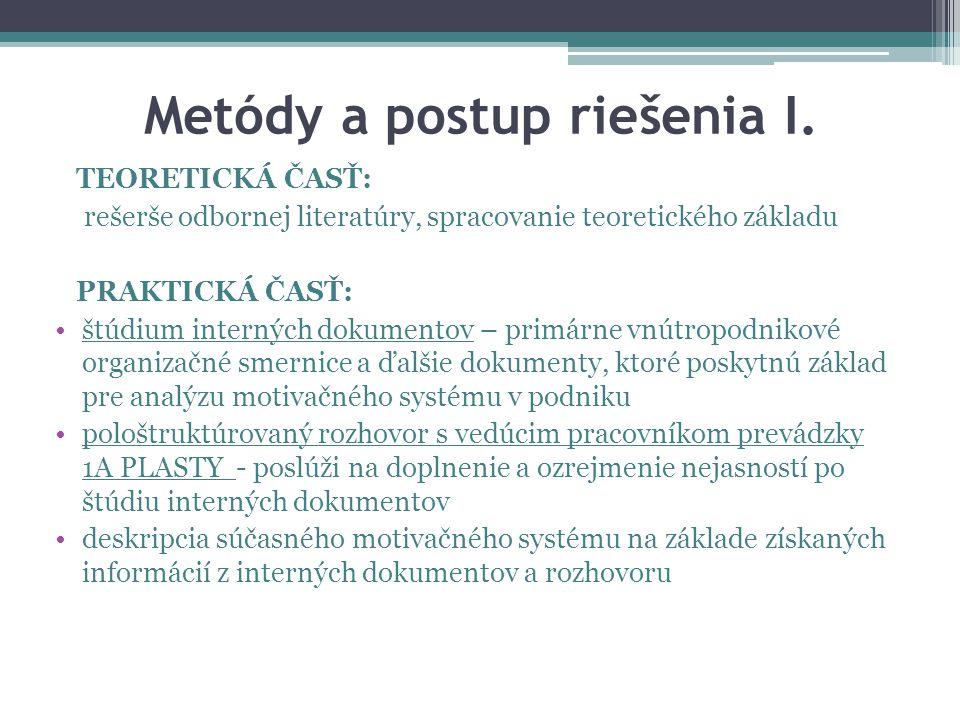 Metódy a postup riešenia II.