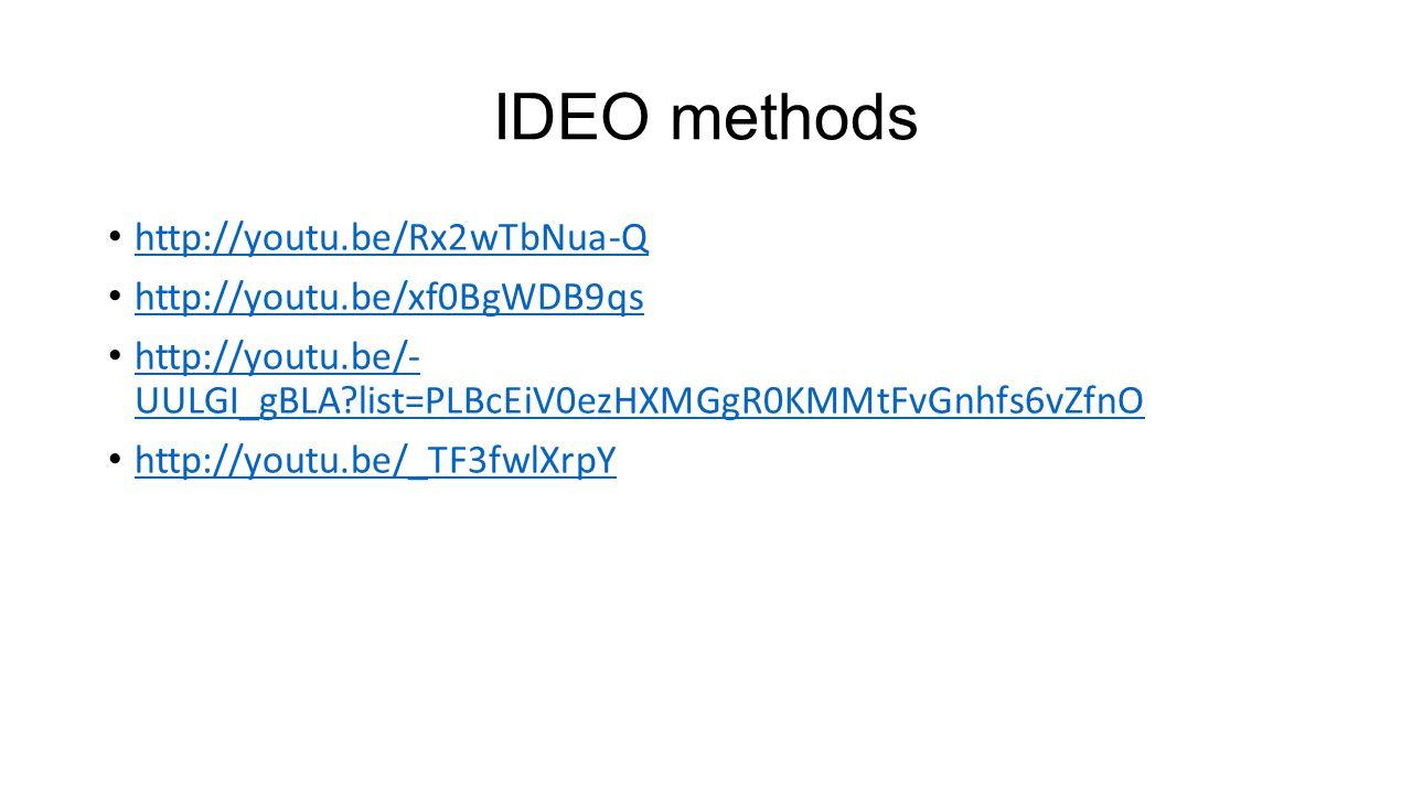 IDEO methods http://youtu.be/Rx2wTbNua-Q http://youtu.be/xf0BgWDB9qs http://youtu.be/- UULGI_gBLA list=PLBcEiV0ezHXMGgR0KMMtFvGnhfs6vZfnO http://youtu.be/- UULGI_gBLA list=PLBcEiV0ezHXMGgR0KMMtFvGnhfs6vZfnO http://youtu.be/_TF3fwlXrpY