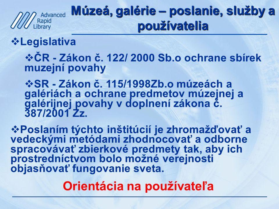 Múzeá, galérie – poslanie, služby a používatelia  Legislativa  ČR - Zákon č.
