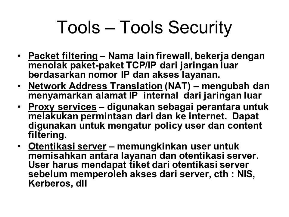 Tools – Tools Security Packet filtering – Nama lain firewall, bekerja dengan menolak paket-paket TCP/IP dari jaringan luar berdasarkan nomor IP dan akses layanan.