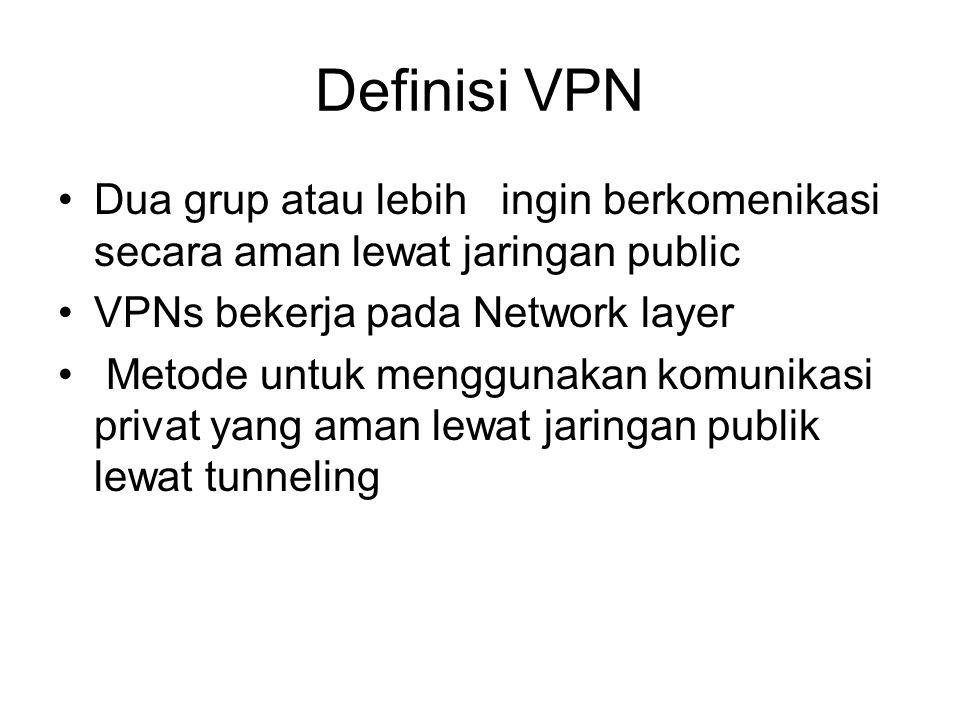Definisi VPN Dua grup atau lebih ingin berkomenikasi secara aman lewat jaringan public VPNs bekerja pada Network layer Metode untuk menggunakan komunikasi privat yang aman lewat jaringan publik lewat tunneling