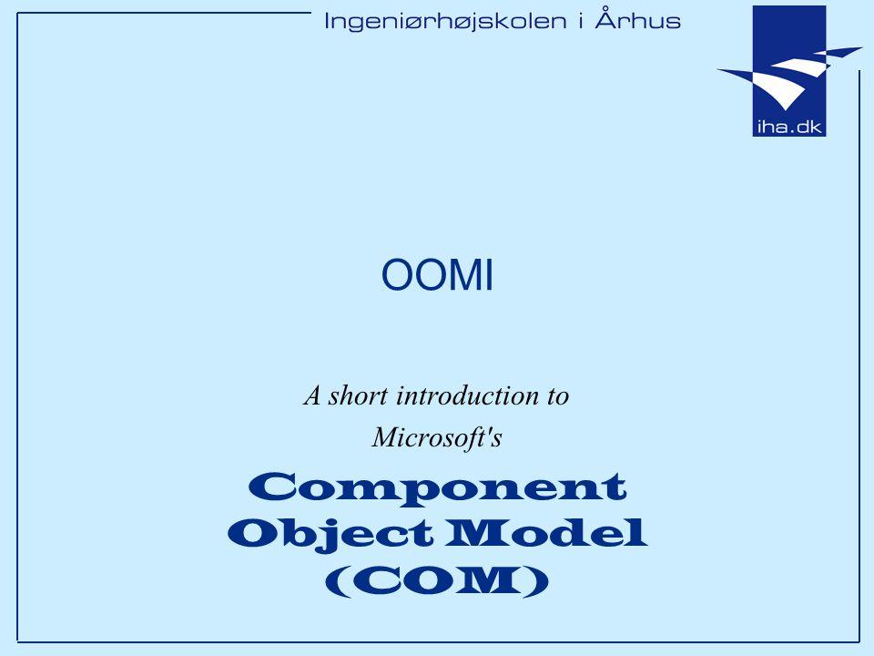 Ingeniørhøjskolen i Århus Slide 32 af 53 ComCar's implementation of IUnknown STDMETHODIMP_(ULONG) ComCar::AddRef() { return ++m_refCount; } STDMETHODIMP_(ULONG) ComCar::Release() { if(--m_refCount == 0) delete this; return m_refCount; } STDMETHODIMP ComCar::QueryInterface(REFIID riid, void** ppInterface) { // Remember.