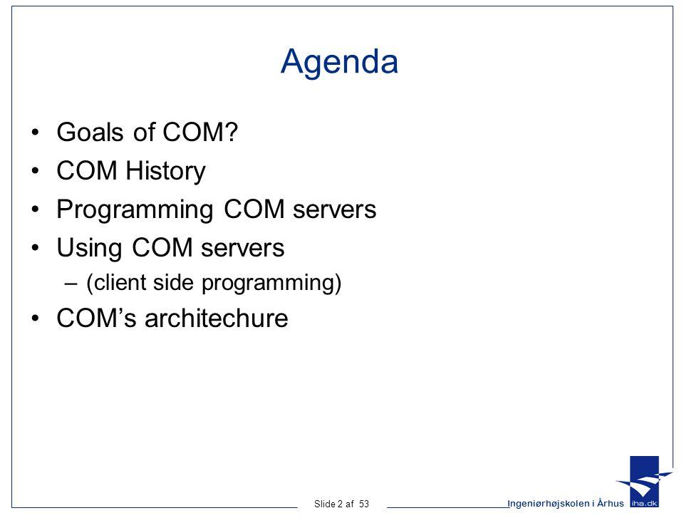 Ingeniørhøjskolen i Århus Slide 53 af 53 MSDN Library Resources COM Specification COM Programmer's Cookbook Designing COM Interfaces COM Home Page http://www.microsoft.com/com/