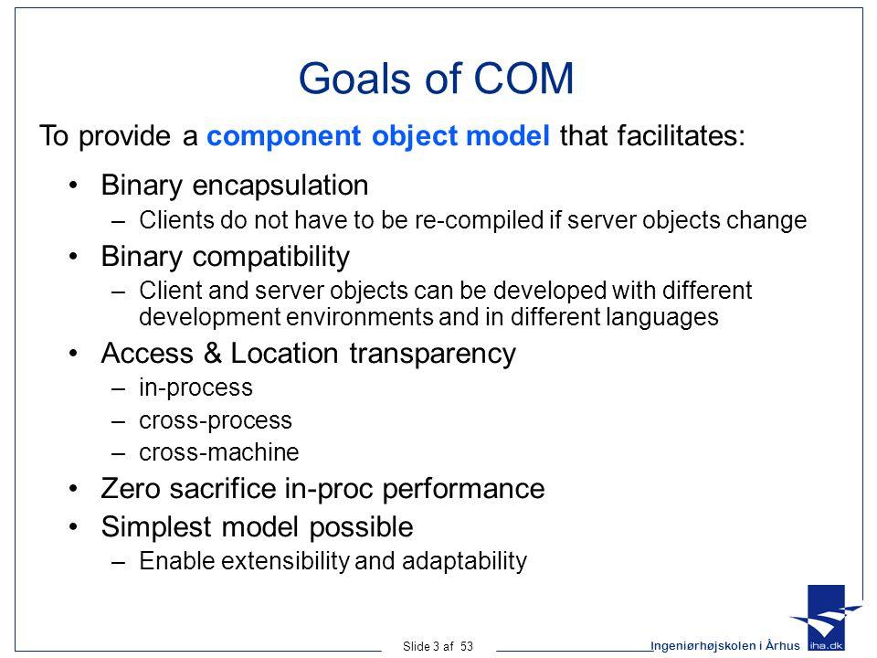 Ingeniørhøjskolen i Århus Slide 4 af 53 The COM Runtime COM is a proprietary Microsoft standard –But other companies have implemented COM on other platforms (e.g.