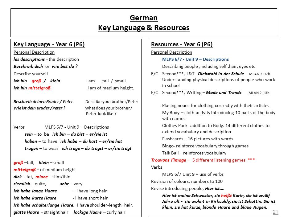 21 German Key Language & Resources Key Language - Year 6 (P6) Personal Description les descriptions - the description Beschreib dich or wie bist du .