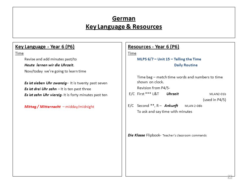 23 German Key Language & Resources Key Language - Year 6 (P6) Time Revise and add minutes past/to Heute lernen wir die Uhrzeit.