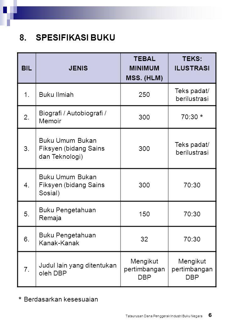 8. SPESIFIKASI BUKU 6 Tataurusan Dana Penggerak Industri Buku Negara BILJENIS TEBAL MINIMUM MSS.