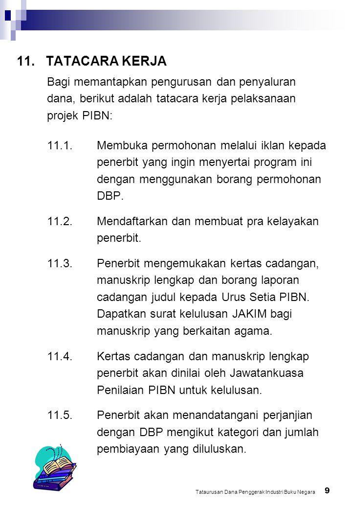 10 Tataurusan Dana Penggerak Industri Buku Negara Sambungan 11.6.Bayaran 20% akan dibuat selepas perjanjian ditandatangani.