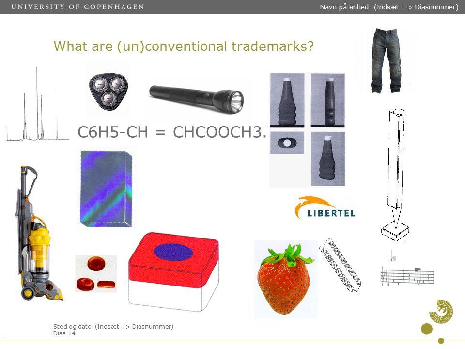 Sted og dato (Indsæt --> Diasnummer) Dias 14 Navn på enhed (Indsæt --> Diasnummer) What are (un)conventional trademarks.