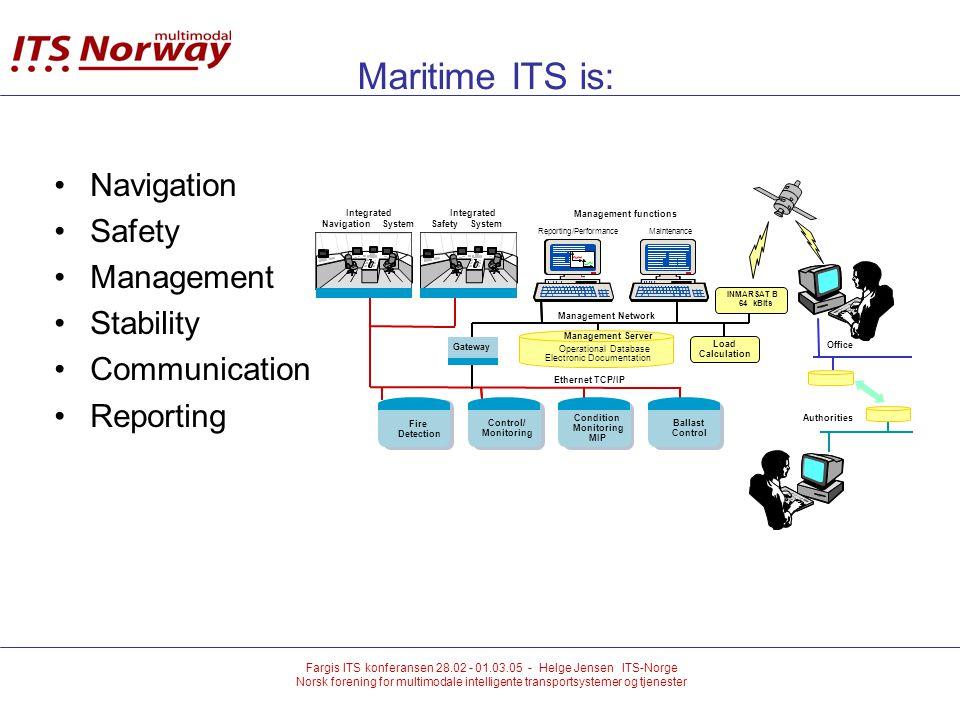 Fargis ITS konferansen 28.02 - 01.03.05 - Helge Jensen ITS-Norge Norsk forening for multimodale intelligente transportsystemer og tjenester Maritime ITS is: Navigation Safety Management Stability Communication Reporting