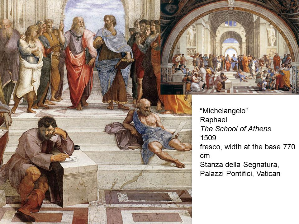 Michelangelo Raphael The School of Athens 1509 fresco, width at the base 770 cm Stanza della Segnatura, Palazzi Pontifici, Vatican