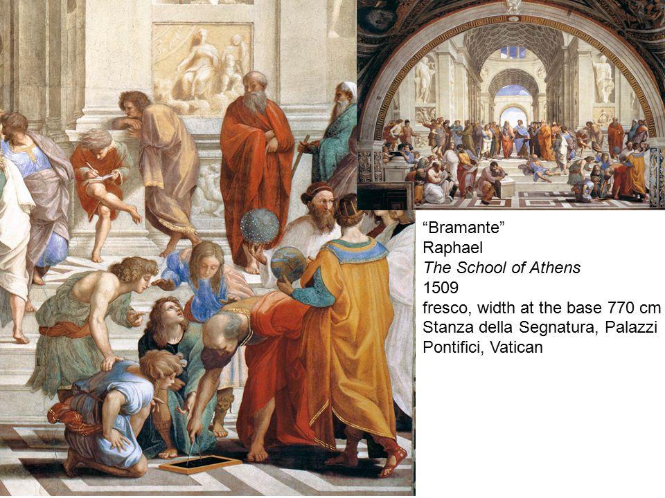 """""""Bramante"""" Raphael The School of Athens 1509 fresco, width at the base 770 cm Stanza della Segnatura, Palazzi Pontifici, Vatican"""