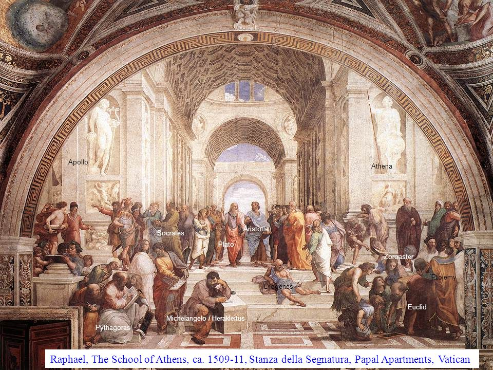 Apollo Pythagoras Socrates Plato Aristotle Diogenes Michelangelo / Herakleitus Athena Ptolemy Euclid Zoroaster Raphael, The School of Athens, ca.