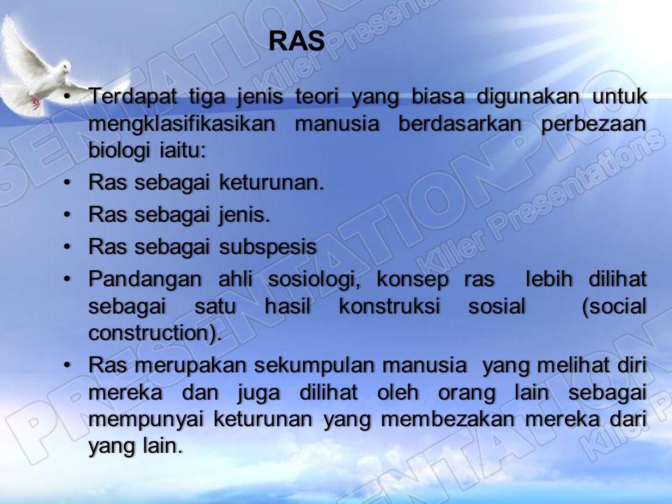 RAS Terdapat tiga jenis teori yang biasa digunakan untuk mengklasifikasikan manusia berdasarkan perbezaan biologi iaitu:Terdapat tiga jenis teori yang
