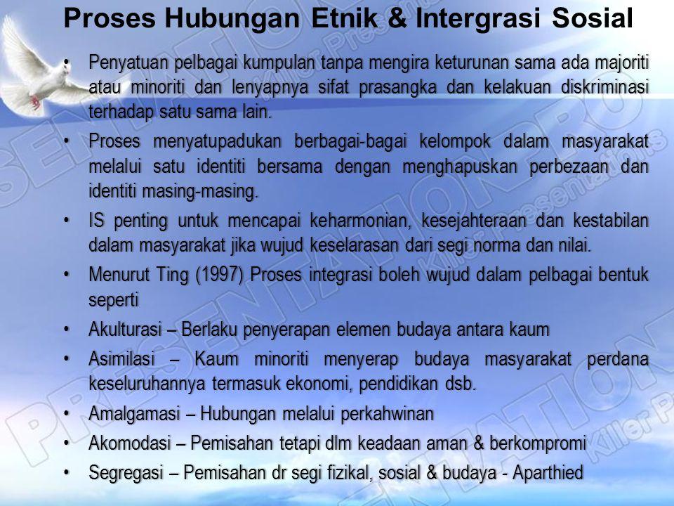 Proses Hubungan Etnik & Intergrasi Sosial Penyatuan pelbagai kumpulan tanpa mengira keturunan sama ada majoriti atau minoriti dan lenyapnya sifat pras