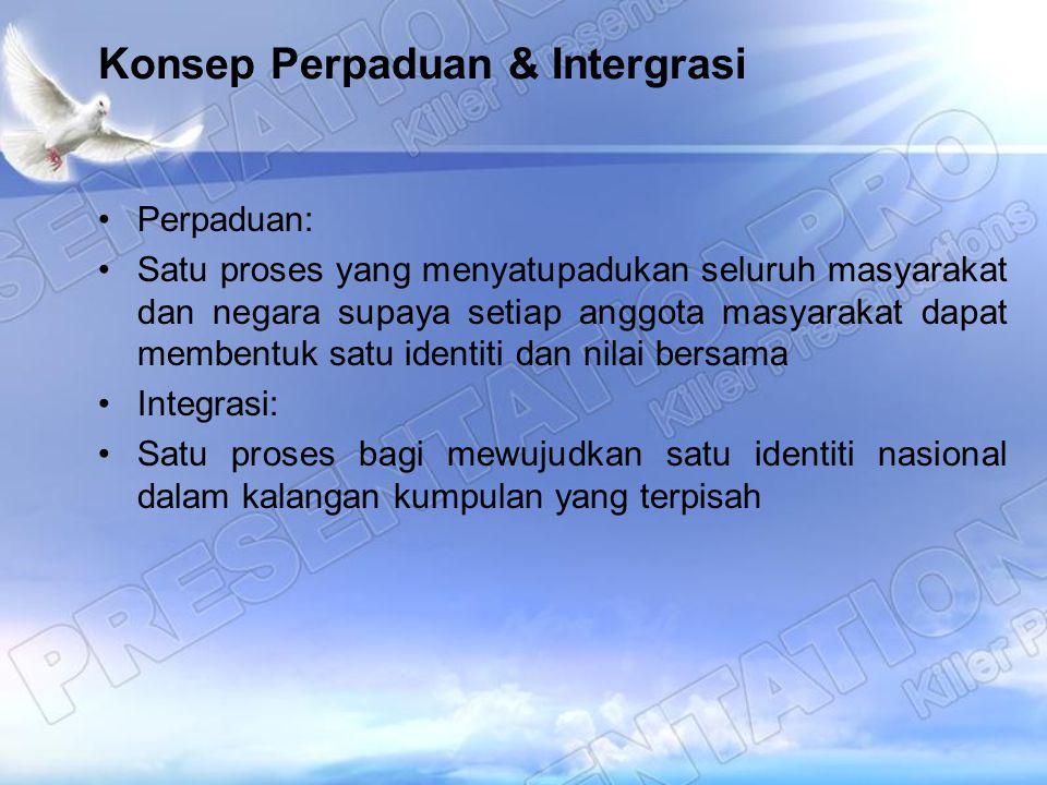 Konsep Perpaduan & Intergrasi Perpaduan: Satu proses yang menyatupadukan seluruh masyarakat dan negara supaya setiap anggota masyarakat dapat membentu