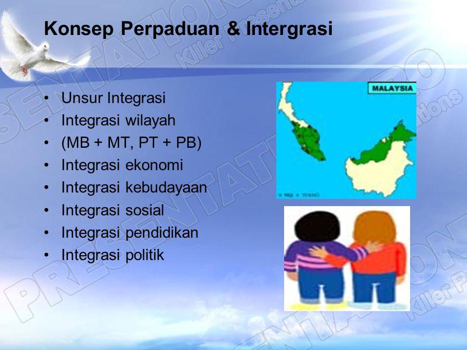 Konsep Perpaduan & Intergrasi Unsur Integrasi Integrasi wilayah (MB + MT, PT + PB) Integrasi ekonomi Integrasi kebudayaan Integrasi sosial Integrasi p