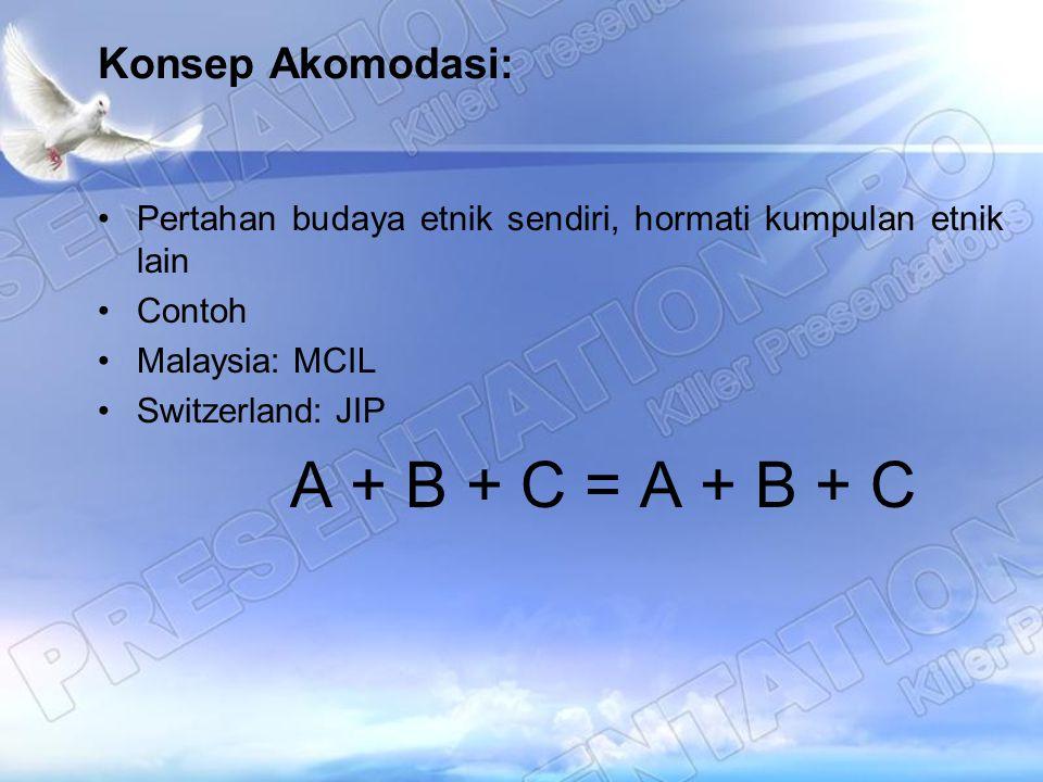 Konsep Akomodasi: Pertahan budaya etnik sendiri, hormati kumpulan etnik lain Contoh Malaysia: MCIL Switzerland: JIP A + B + C = A + B + C