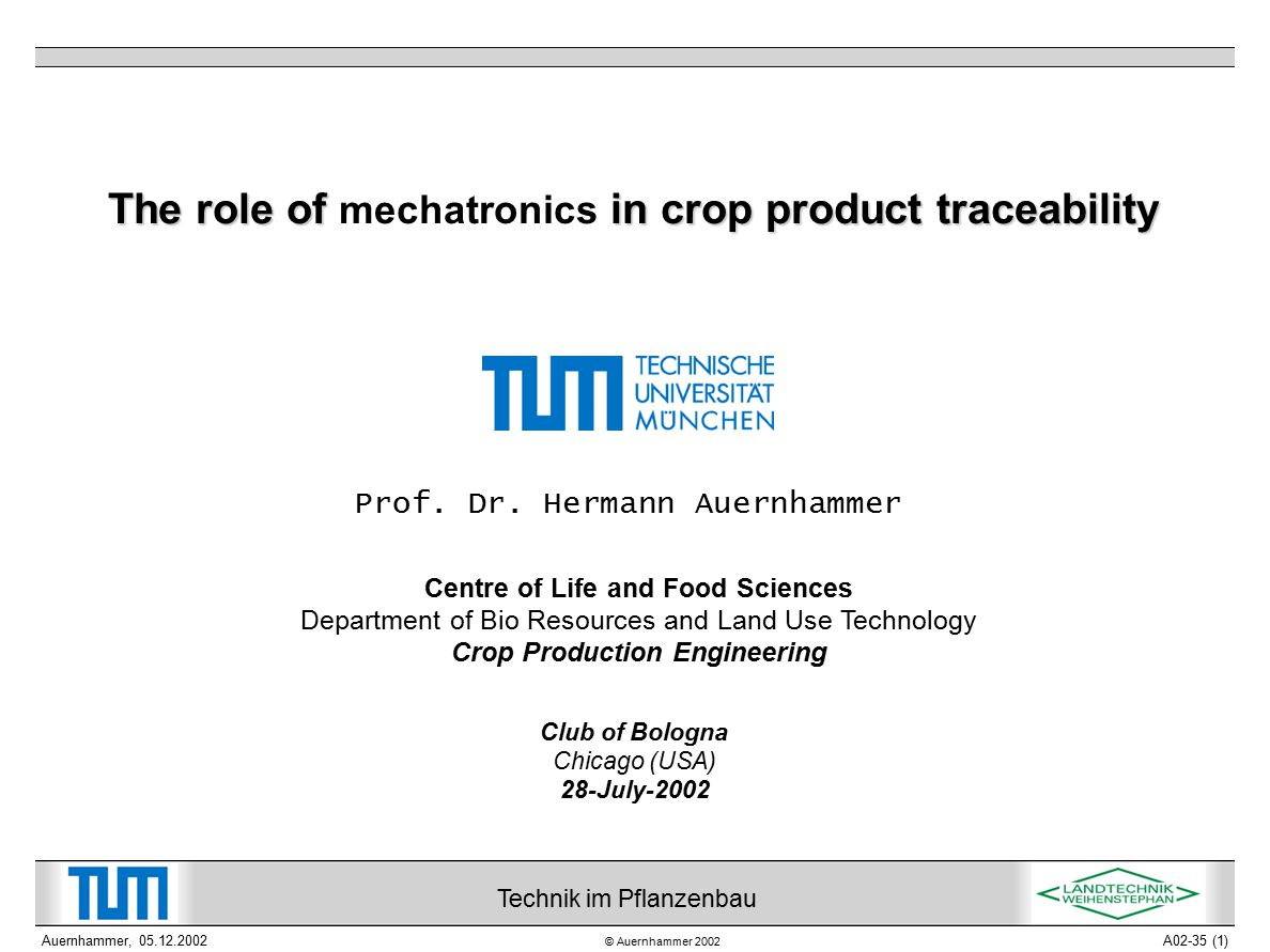 © Auernhammer 2002 Technik im Pflanzenbau Auernhammer, 05.12.2002A02-35 (2) The role of mechatronics in crop product traceability 1 Introduction 2 Overview on precision crop farming 3 Applications of mechatronics Automated data acquisition Site-specific crop management Fleet management Guidance and field robotics 4 Traceability Efficient sensors Distributed controllers Standardized communication Integrated security / safety concepts 5 Conclusions