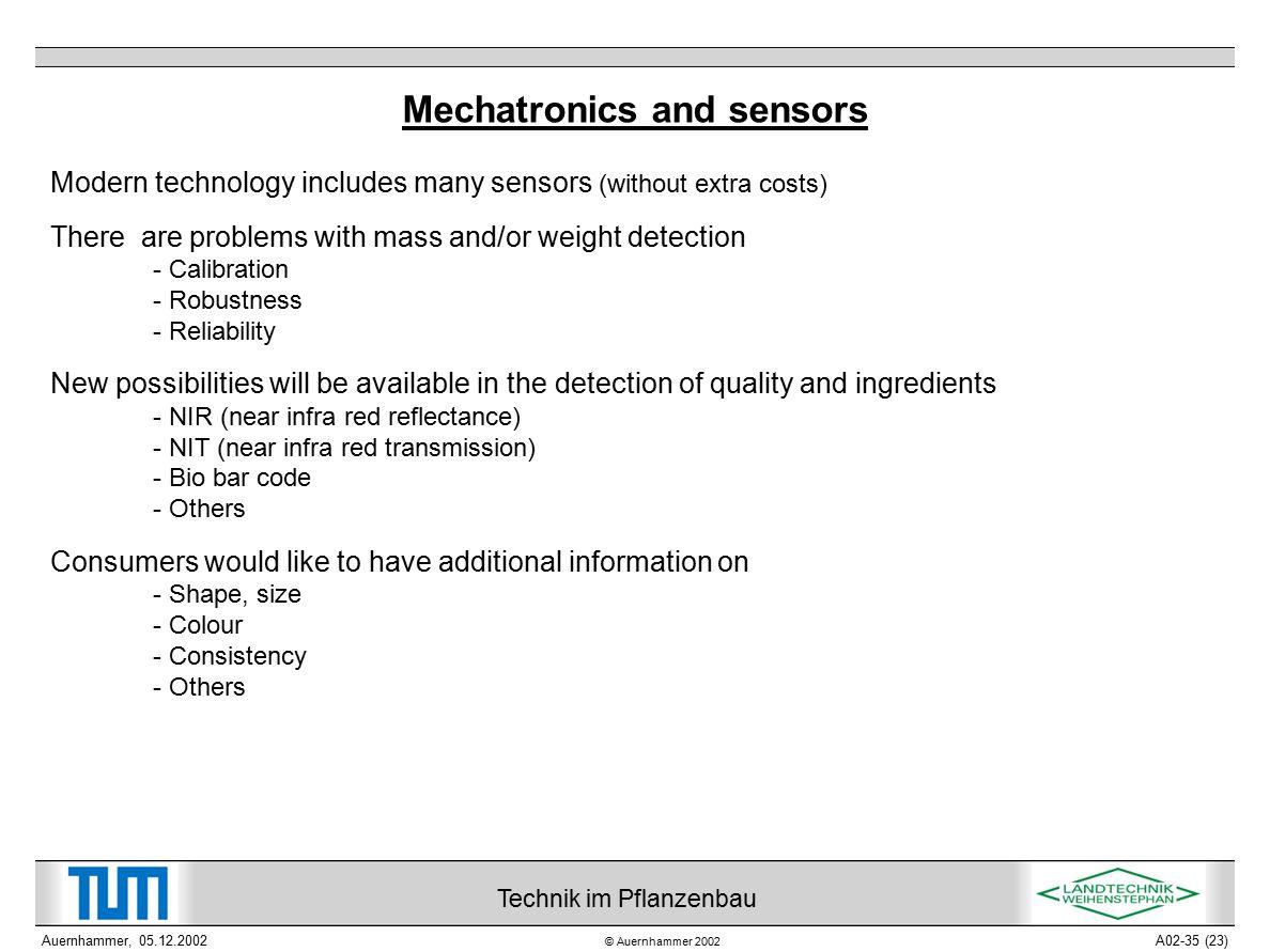 © Auernhammer 2002 Technik im Pflanzenbau Auernhammer, 05.12.2002A02-35 (23) Mechatronics and sensors Modern technology includes many sensors (without