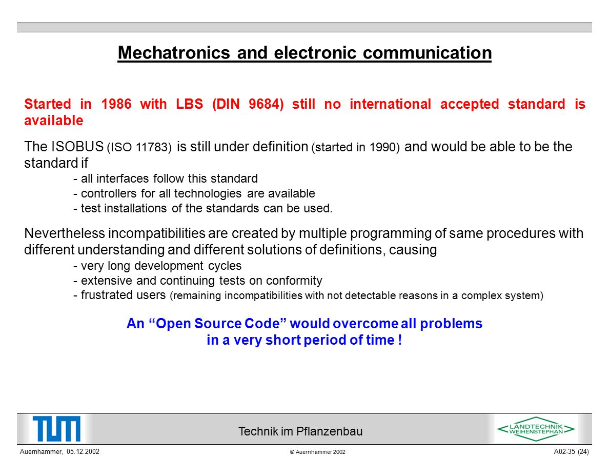 © Auernhammer 2002 Technik im Pflanzenbau Auernhammer, 05.12.2002A02-35 (24) Mechatronics and electronic communication Started in 1986 with LBS (DIN 9684) still no international accepted standard is available The ISOBUS (ISO 11783) is still under definition (started in 1990) and would be able to be the standard if - all interfaces follow this standard - controllers for all technologies are available - test installations of the standards can be used.