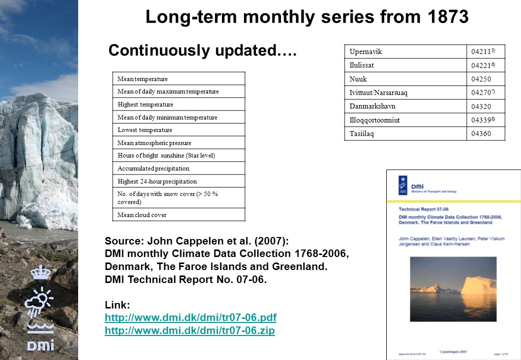 Long-term monthly series from 1873 Continuously updated….