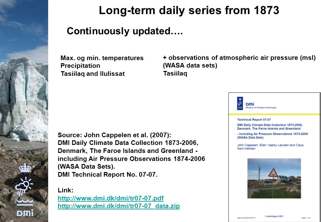 Long-term daily series from 1873 Continuously updated….