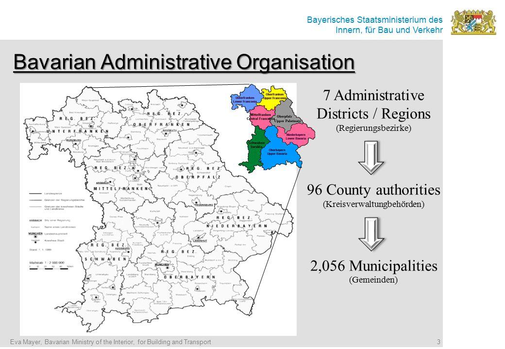 Bayerisches Staatsministerium des Innern, für Bau und Verkehr Bavarian Administrative Organisation 7 Administrative Districts / Regions (Regierungsbez