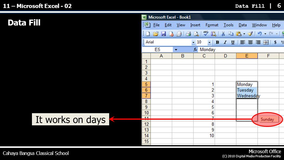 Data Fill Data Fill | 6 Cahaya Bangsa Classical School Microsoft Office (C) 2010 Digital Media Production Facility It works on days 11 – Microsoft Exc