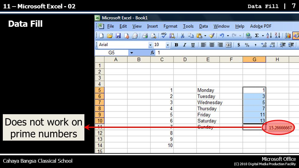 Data Fill Data Fill | 7 Cahaya Bangsa Classical School Microsoft Office (C) 2010 Digital Media Production Facility Does not work on prime numbers 11 –