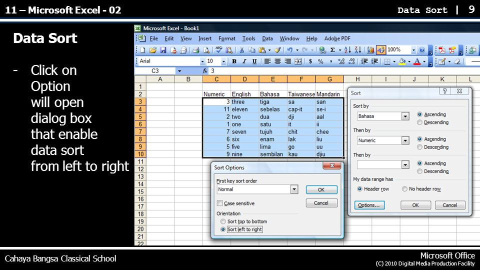 Data Sort -Click on Option will open dialog box that enable data sort from left to right Data Sort | 9 Cahaya Bangsa Classical School Microsoft Office (C) 2010 Digital Media Production Facility 11 – Microsoft Excel - 02