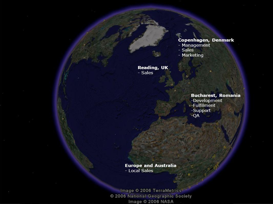 Copenhagen, Denmark - Management - Sales - Marketing Reading, UK - Sales Bucharest, Romania -Development -Fulfilment -Support -QA Europe and Australia - Local Sales