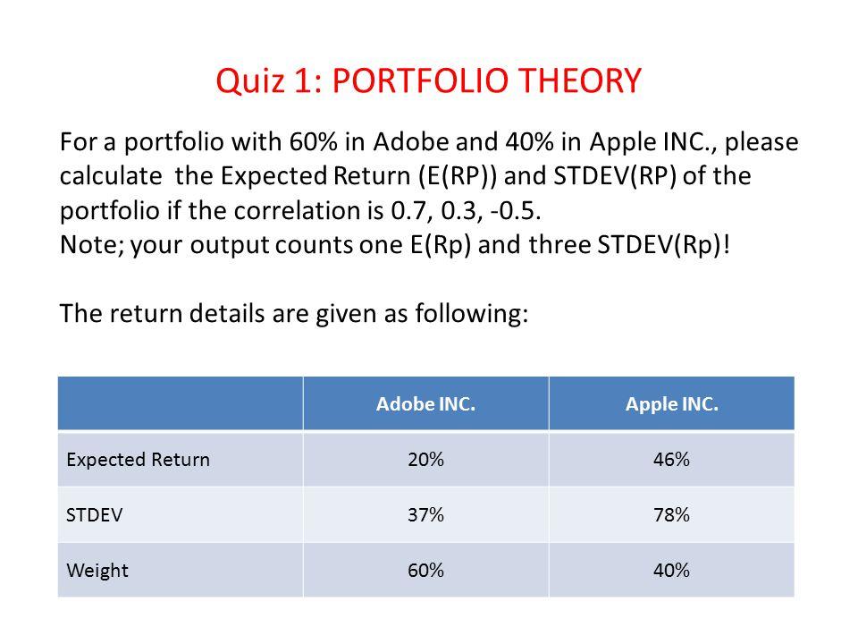 Step 1: E(R portfolio) = w(Adob)*E(R Adob) + w(Appl)*E(R Appl) Step 2: Var(R portfolio) = (w(Adob)*Std(R Adob))^2+ (w(Appl)*Std(RAppl))^2+2*w(Adob)*w(Appl)*Std(R Adob)*Std(R Appl)*Corr(Adob, Appl) Step 3: STDEV(R portfolio)=sqrt(Var R portfolio) ERSTDweightER*Weightw*STD(w*std)^2Corr=0.7Corr=0.3Corr=-0.5 Adobe20%37%60%12%22%4.9%0.70.3-0.5 Apple46%78%40%18%31%9.7%0.70.3-0.5 E(RP)30.4%VAR(RP)24%19%8% STD(RP)49%43%28%