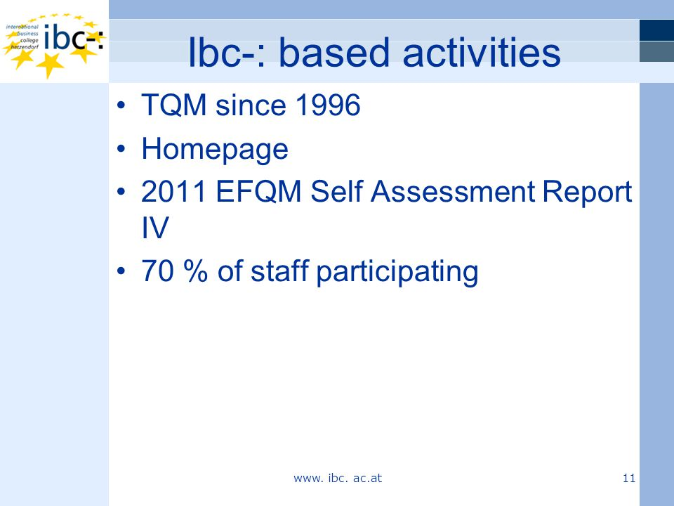 Ibc-: based activities TQM since 1996 Homepage 2011 EFQM Self Assessment Report IV 70 % of staff participating www. ibc. ac.at 11