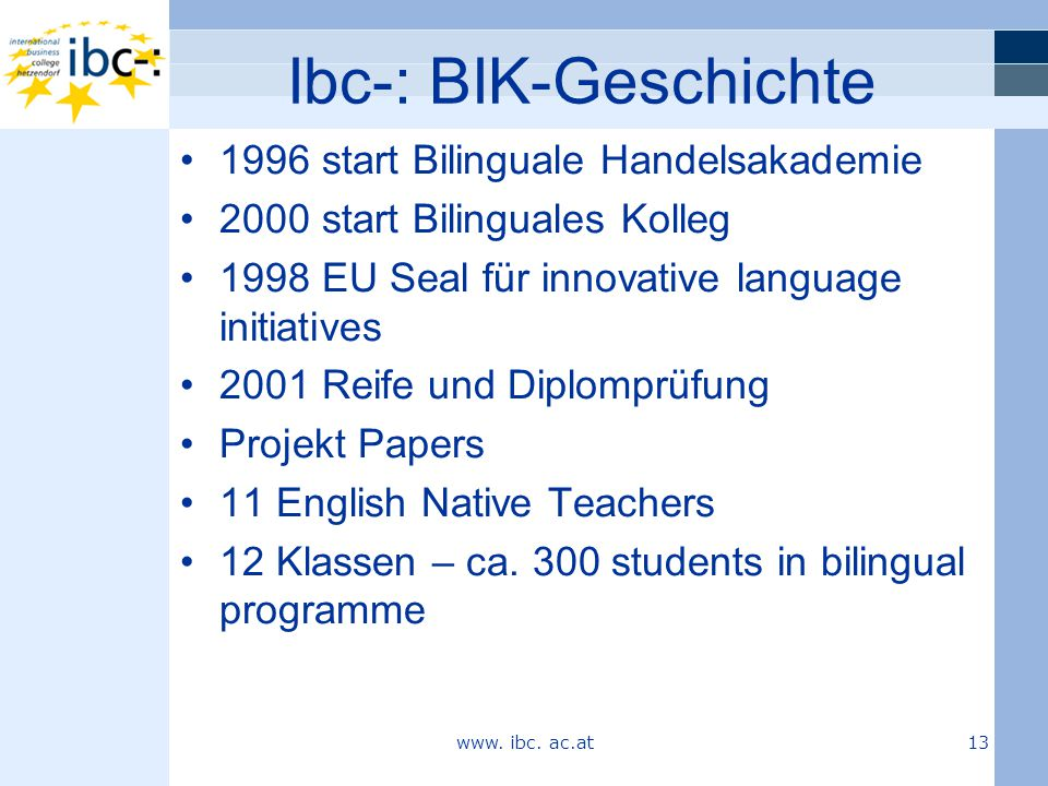 Ibc-: BIK-Geschichte 1996 start Bilinguale Handelsakademie 2000 start Bilinguales Kolleg 1998 EU Seal für innovative language initiatives 2001 Reife und Diplomprüfung Projekt Papers 11 English Native Teachers 12 Klassen – ca.