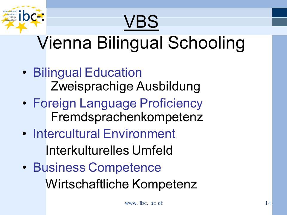 VBS Vienna Bilingual Schooling Bilingual Education Zweisprachige Ausbildung Foreign Language Proficiency Fremdsprachenkompetenz Intercultural Environment Interkulturelles Umfeld Business Competence Wirtschaftliche Kompetenz www.