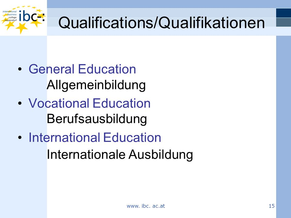 Qualifications/Qualifikationen General Education Allgemeinbildung Vocational Education Berufsausbildung International Education Internationale Ausbildung www.