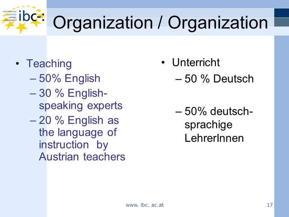 Organization / Organization Unterricht –50 % Deutsch –50% deutsch- sprachige LehrerInnen Teaching –50% English –30 % English- speaking experts –20 % English as the language of instruction by Austrian teachers www.