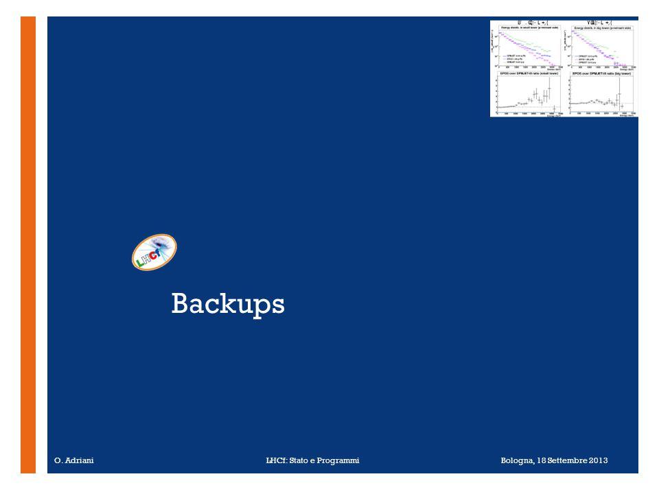 + Backups O. Adriani LHCf: Stato e Programmi Bologna, 18 Settembre 2013