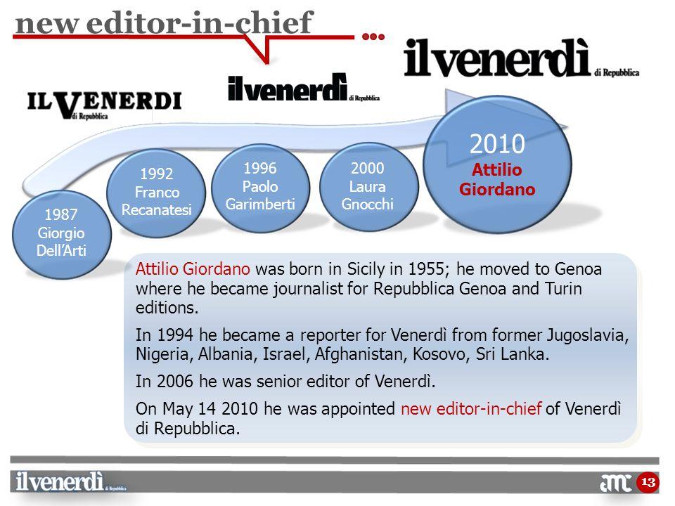 13 Attilio Giordano was born in Sicily in 1955; he moved to Genoa where he became journalist for Repubblica Genoa and Turin editions.