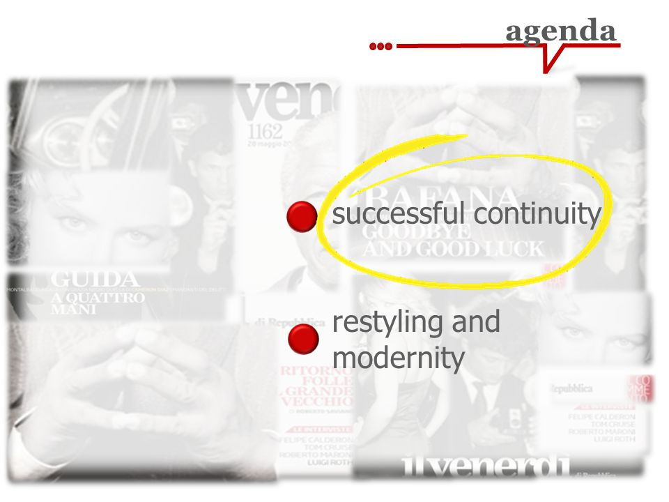 agenda restyling and modernity successful continuity