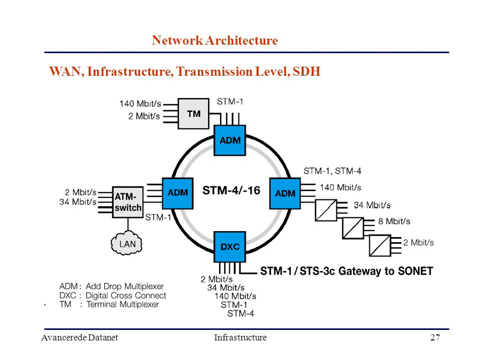 Avancerede DatanetInfrastructure27 WAN, Infrastructure, Transmission Level, SDH Network Architecture