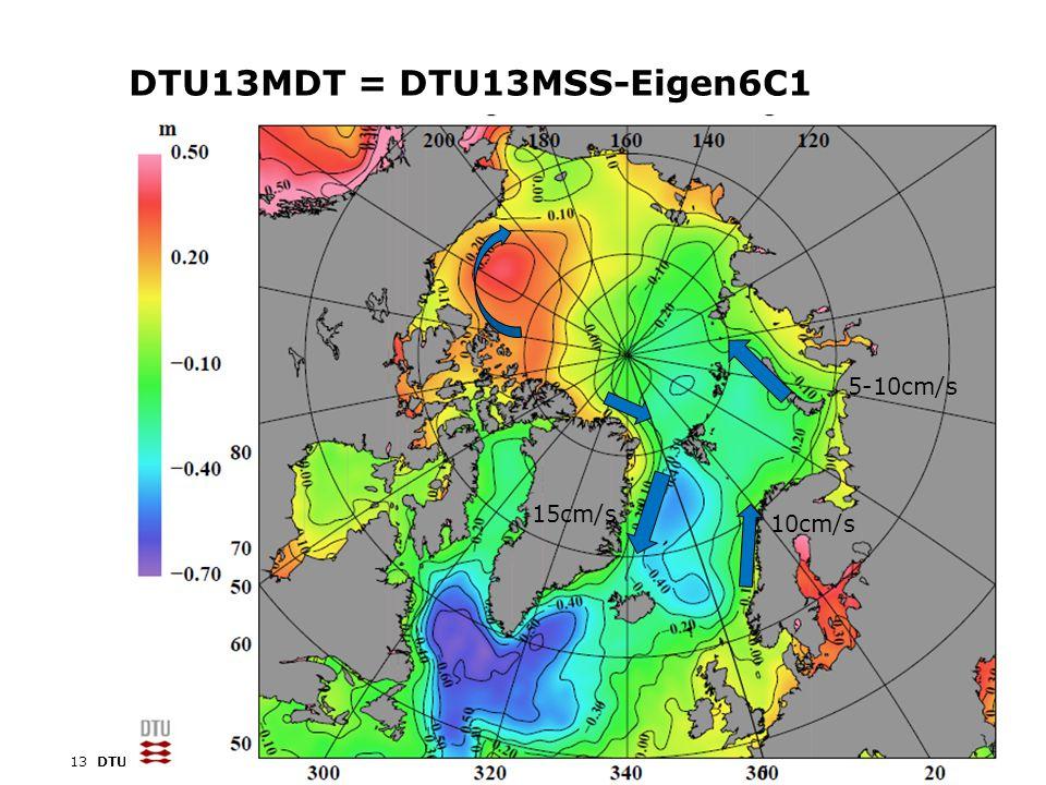 14DTU Space, Technical University of Denmark OSTST, Boulder, CO, 8-11 Oct, 2013 Models shown on same scale (offsets removed) UW MDT GECCO MDTMICOM MDT UW/PIO MDT DTU13MDT Satellite MDT vs hydrodynamic MDT