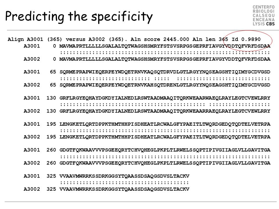 Predicting the specificity Align A3001 (365) versus A3002 (365).