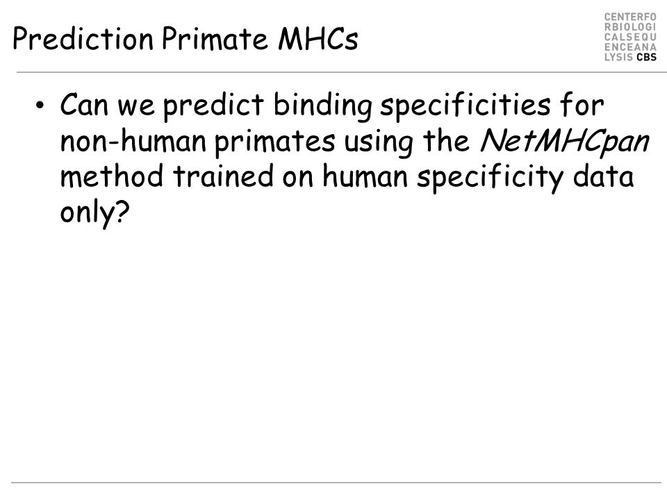Prediction Primate MHCs Can we predict binding specificities for non-human primates using the NetMHCpan method trained on human specificity data only?